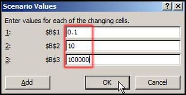 Change Scenario Value in Excel 2007