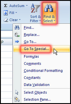 Go To Special Command in Excel 2007