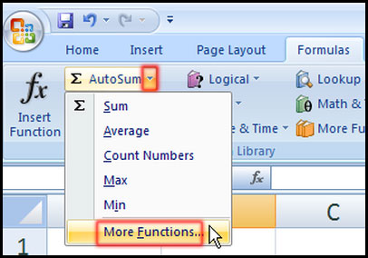 How to using Functions in Excel 2007