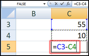 Subtract the contents of two cell in Excel 2007
