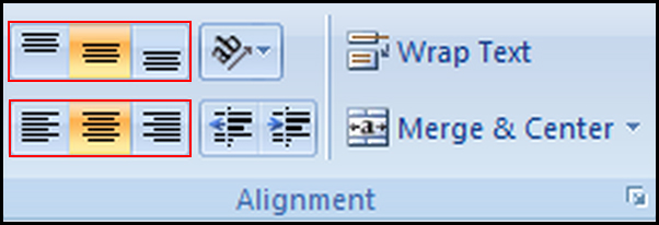 Change alignment in Excel 2007