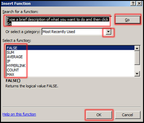 Select a function from Insert Function Dialog box in Excel 2007