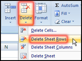 Delete selected blank row in Excel 2007