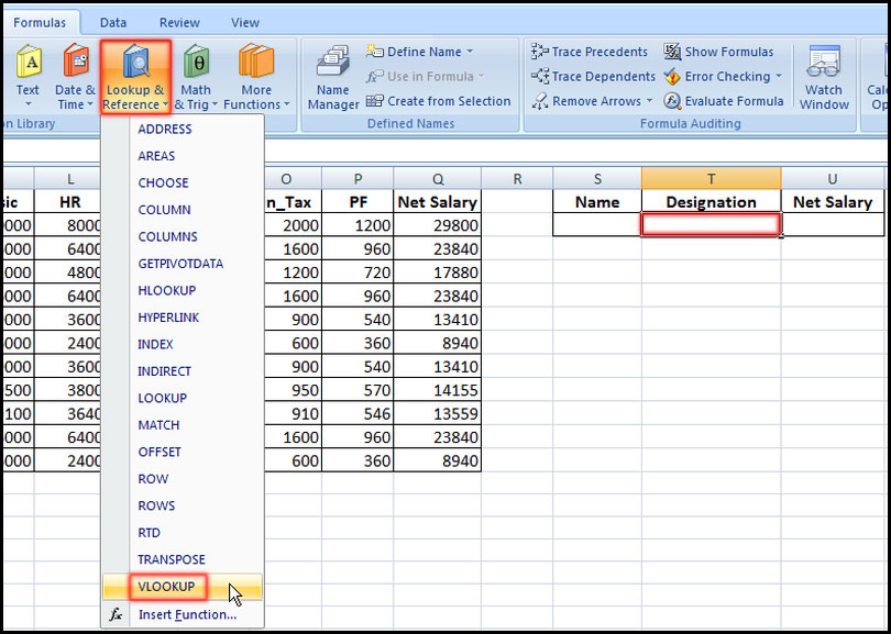 Select VLOOKUP function in Excel 2007