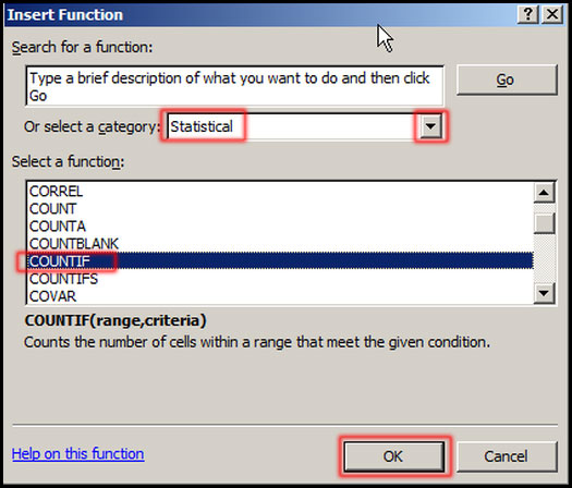 Using COUNTIF Function in Excel 2007