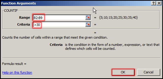 Assign range and criteria in function arguments in Excel 2007