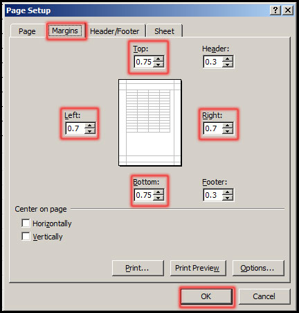 Select custom margin from Page Setup Dialog box in Excel 2007
