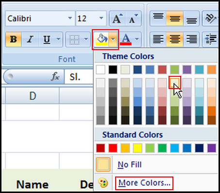 Select fill color for cell in Excel 2007