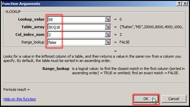 Setup VLOOKUP value in Function Arguments dialog box in Excel 2007