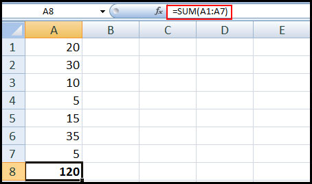 using sum function in Excel