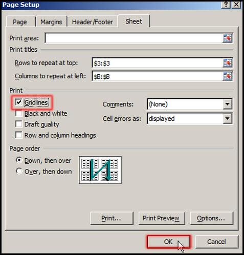 Print Gridlines in Excel 2007