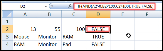 Using IF Function with AND Function in Excel