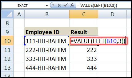 এক্সেল ফাংশন এর ব্যবহার,, Using VALUE Function with LEFT function in Excel 2007