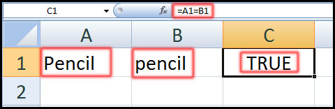Using the Equal to operator with text values in Excel 2007