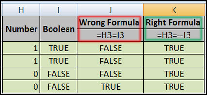Comparing Boolean values and numbers in Excel 2007