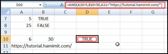 Using AND Function with many condition in Excel
