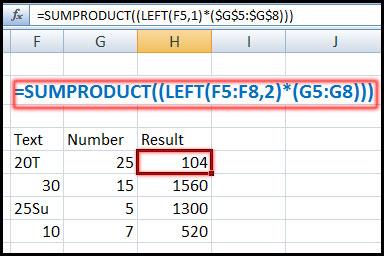 এক্সেল ফাংশন এর ব্যবহার, Using SUMPRODUCT Function with LEFT Function in Excel 2007