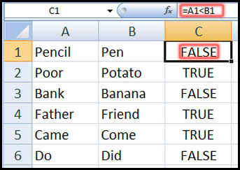 Using comparison operators with text values in Excel 2007