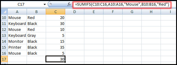 using SUMIFS function in Excel