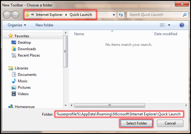 Choose a folder for create new toolbar in windows 7