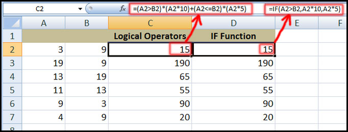 Using Logical operators in mathematical calculations in Excel 2007