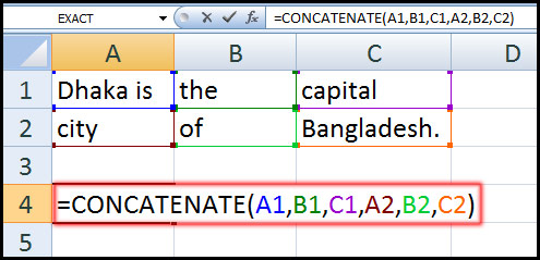 Using Concatenate Function in Excel