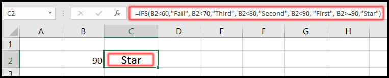 Using IFS Function in Excel 2016 Example 1