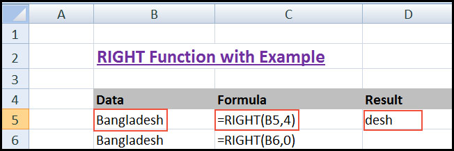 Using RIGHT Function in Excel with Example