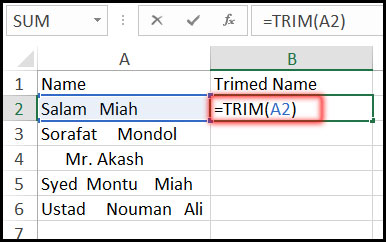 Using Trim Function with Example in Excel