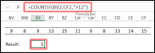 COUNTIF with Not Greater Than Operator in Excel