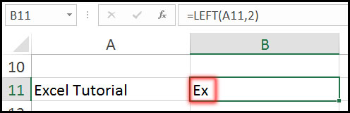 Result of Using Left Function with Example in Excel