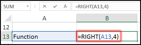 Using Right Function with Example in Excel