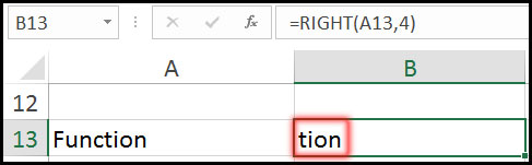 Result of Using Right Function with Example in Excel
