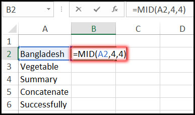 Using Mid Function with Example in Excel