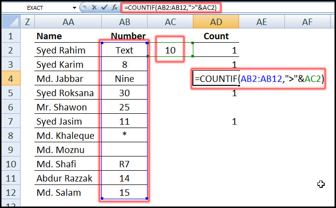 Using COUNTIF Function with greater than a number in Excel
