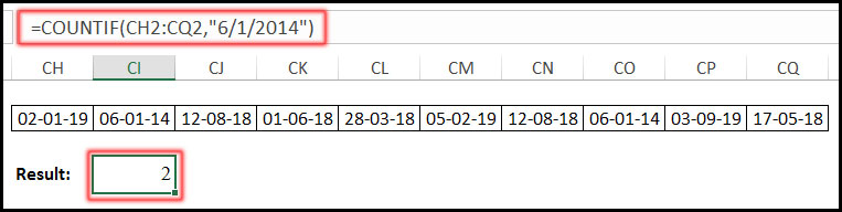 COUNTIF Function with equal Date in Excel