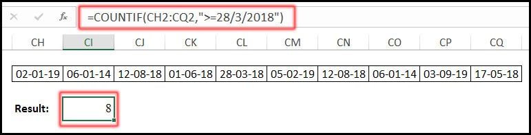 COUNTIF Function with Greater or Equal Date in Excel