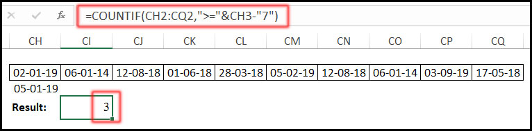 COUNTIF Function with greater than or equal to in Excel