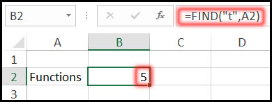 Result of Using Find Function with Example in Excel