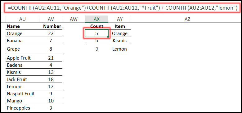 Using COUNTIF Function with text criteria in Excel