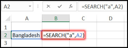 Using Search Function with Example in Excel