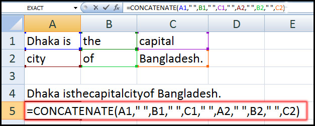 Using Concatenate Function with quotation sign in Excel