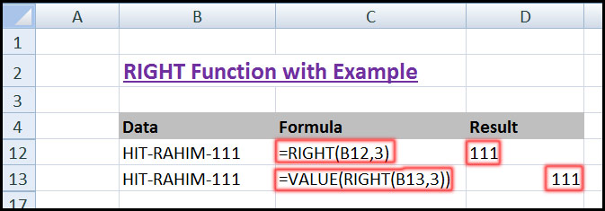 Using RIGHT Function with VALUE Function in Excel