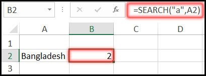 Result of Using Search Function with Example in Excel