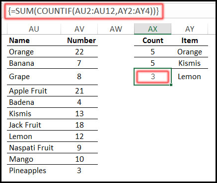 Using COUNTIF Function with SUM Function as an Array in Excel