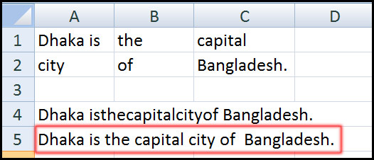 Result for using Concatenate Function in Excel