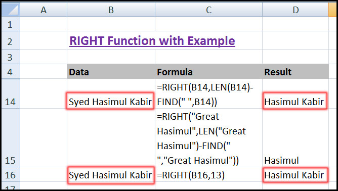 Using RIGHT Function with LEN & FIND Function in Excel