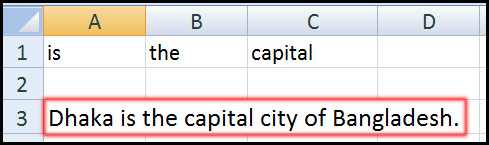 Result for using Concatenate function for add extra text in Excel