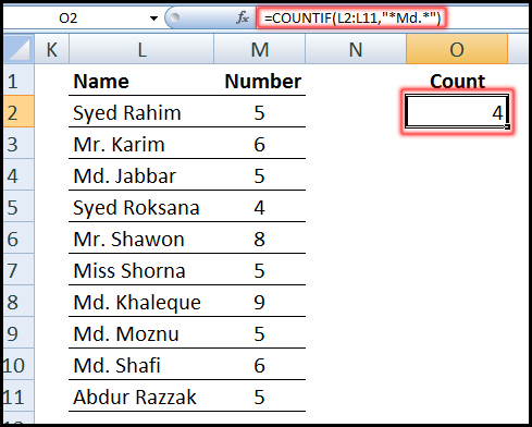 Using COUNTIF Function for partial match in Excel