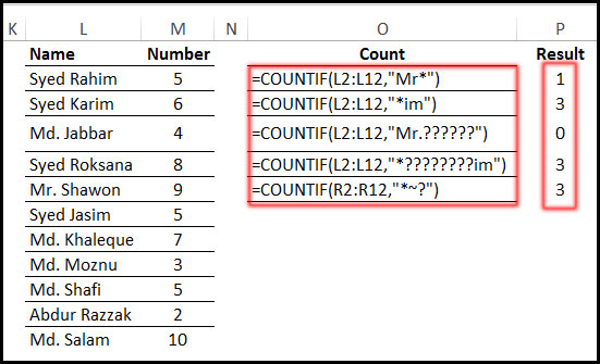 Using COUNTIF Function with wild card in Excel